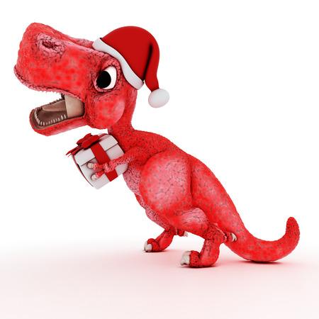 trex: 3D Render of Friendly Cartoon Dinosaur with christmas gift box