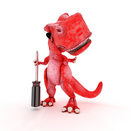 primitive tools: 3DS Render of Friendly Cartoon Dinosaur with screwdriver