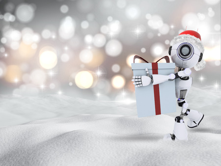 snow drifts: 3D render of a robot carrying a Chrismas gift in snow