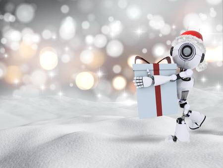 cloud drift: 3D render of a robot carrying a Chrismas gift in snow