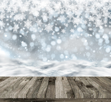 happy new year: 3D render of a wooden table on a Christmas background with snow and bokeh lights