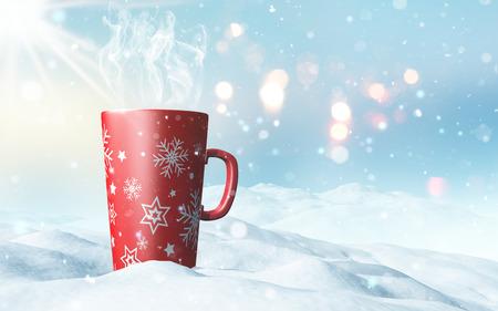 3D render of a Christmas mug nestled in snow