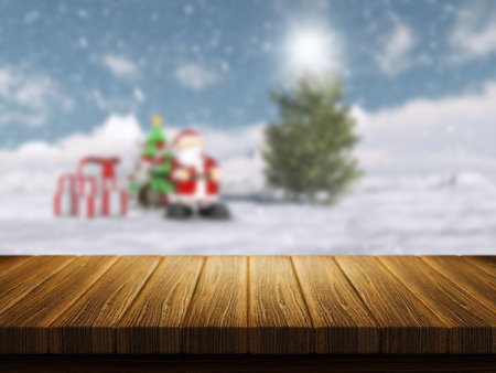 defocussed: 3D render of a wooden table with a defocussed Christmas Santa landscape in the background