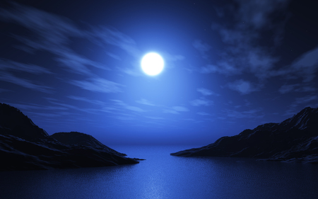 3D render of a landscape with lake and mountains at night Stock Photo