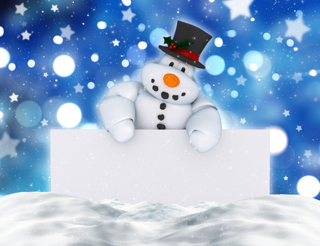 holding sign: 3D render of a snowman holding a blank sign in snow Stock Photo