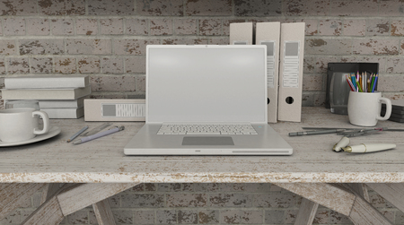 laptop screen: 3D render of a laptop with a blank screen on shelf Stock Photo