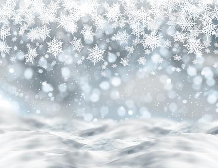 bokeh lights: Christmas background with snow and bokeh lights