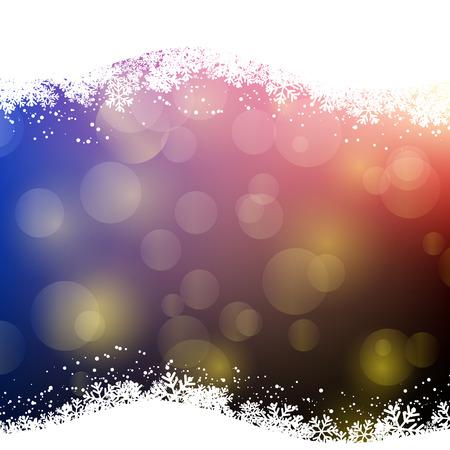 bokeh lights: Christmas background with snowflakes and bokeh lights