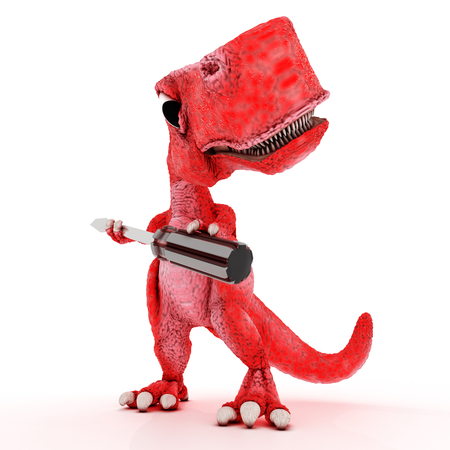 3ds: 3DS Render of Friendly Cartoon Dinosaur with screwdriver