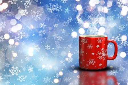 snowflake background: 3D render of a Christmas mug on a bokeh lights and snowflake background Stock Photo