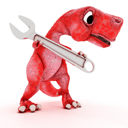 animal teeth: 3DS Render of Friendly Cartoon Dinosaur with wrench