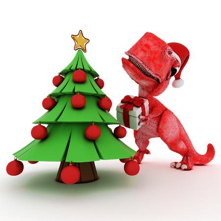 dinosaurio: 3D rinden de dinosaurio de dibujos animados amistosa con el árbol de navidad regalo