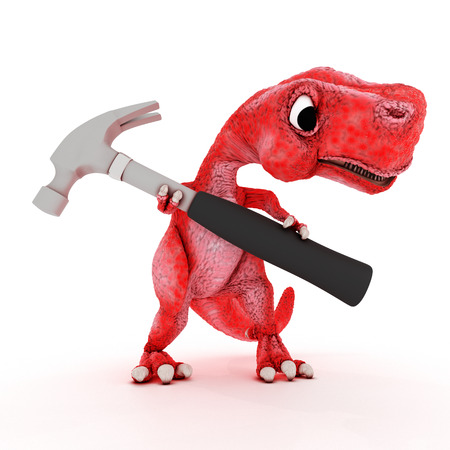 primitive tools: 3DS Render of Friendly Cartoon Dinosaur with hammer