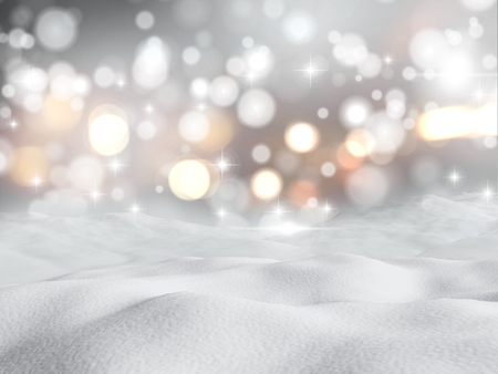 snow drifts: 3D render of snow against a bokeh lights background Stock Photo