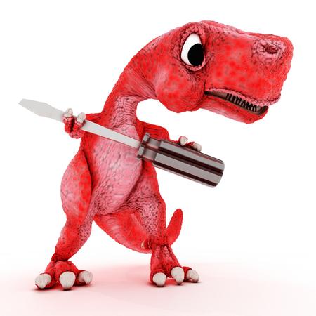 trex: 3DS Render of Friendly Cartoon Dinosaur with screwdriver