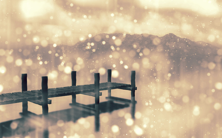 atmospheric: 3D render of a landscape with jetty with bokeh light effect