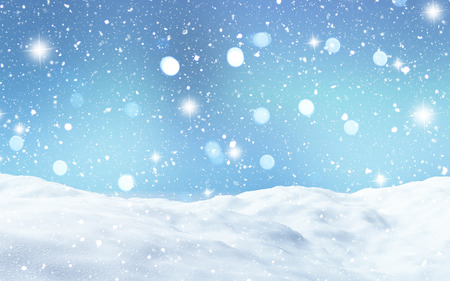 drifts: 3D render of a snowy landscape Stock Photo