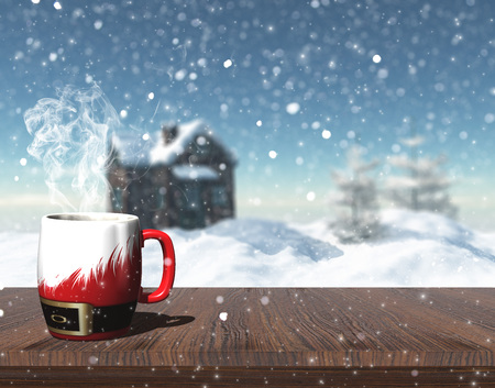 table top view: 3D render of a Christmas mug on a table with defocussed image of snowy house with trees and house Stock Photo