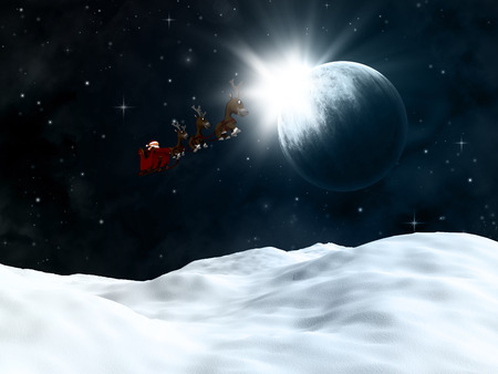 snow drift: 3D render of a winter landscape with santa flying though a night sky