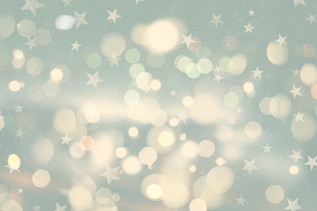 retro styled: Retro styled Christmas background with bokeh lights and stars