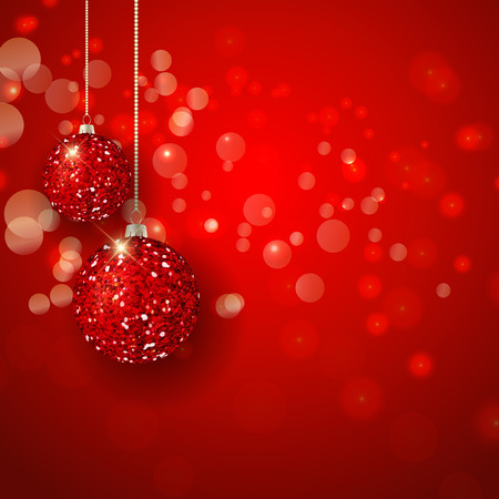 Christmas background with glittery baubles Imagens