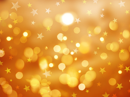 bokeh lights: Christmas background with bokeh lights and stars
