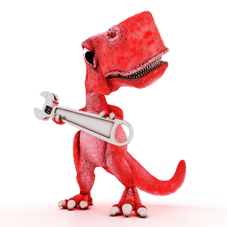 3ds: 3DS Render of Friendly Cartoon Dinosaur with wrench
