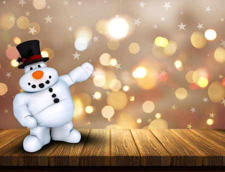 snowman wood: 3D render of a Christmas snowman on wooden table against a bokeh lights background