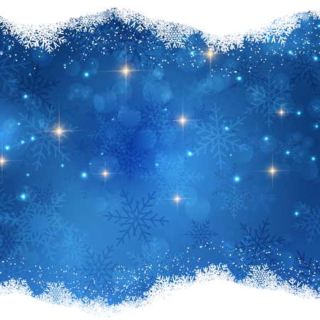 holiday background: Christmas background with snowy border and stars