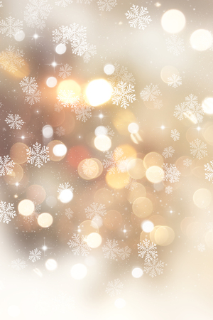 Golden Christmas background with snowflakes and stars Foto de archivo