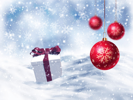 nestled: 3D Christmas gift nestled in snow with  hanging baubles Stock Photo