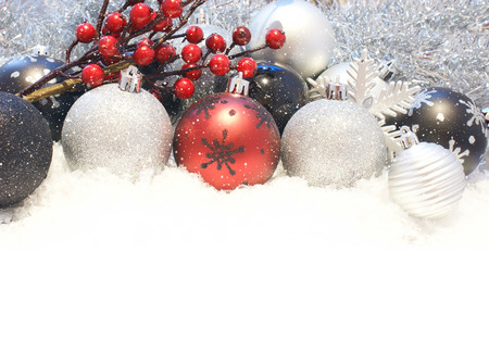 nestled: Snowy Christmas decorations nestled in snow