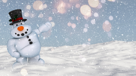 snowy: 3D render of a snowman on a snowy ground landscape Stock Photo