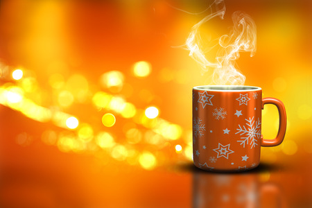 steaming: 3D render of a Christmas mug on a bokeh lights background