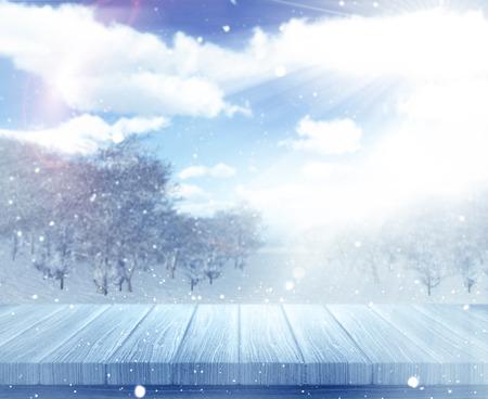 defocussed: 3D render of a wooden table against a defocussed snowy landscape