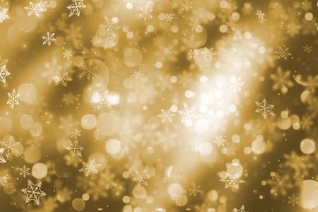 bokeh lights: Christmas background of sparkling bokeh lights and snowflakes