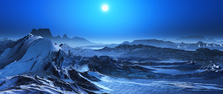 snow covered: 3D render of a snow covered fantasy landscape Stock Photo
