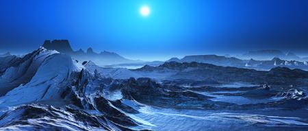 render: 3D render of a snow covered fantasy landscape Stock Photo