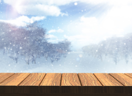 defocussed: 3D render of a wooden table with defocussed snowy landscape