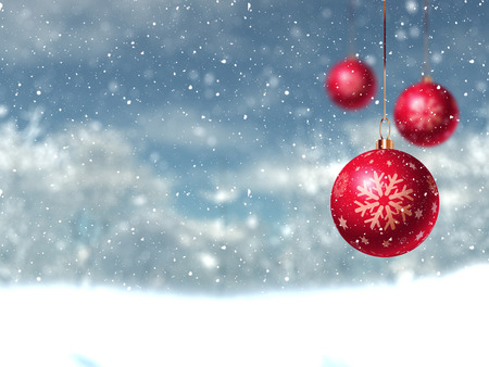 defocussed: Defocussed Christmas winter landscape with hanging baubles