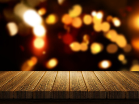 defocussed: 3D render of a wooden table with a defocussed Christmas bokeh lights  in the background Stock Photo