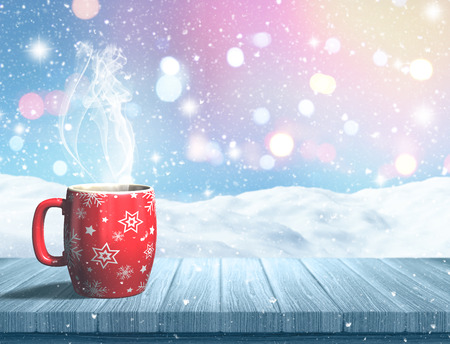 snow: 3D render of a Christmas mug on a wooden table against a snowy landscape