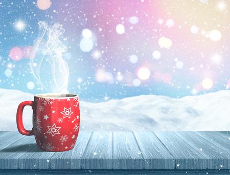 3D rinden de una taza de Navidad en una mesa de madera sobre un paisaje nevado