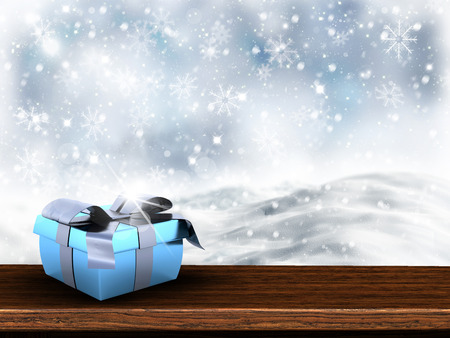 cloud drift: 3D render of a Christmas gift on wooden table with snowy background Stock Photo