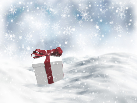 snow drifts: 3D Christmas gift nestled in snow