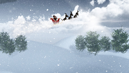 snow drifts: 3D render of Santa and his sleigh flying over a snowy landscape