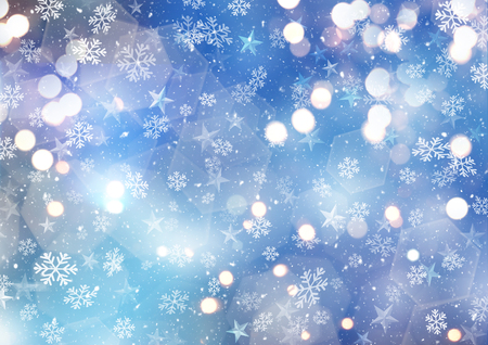 Christmas background with stars and bokeh lights Stock Photo