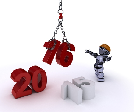 fiestas electronicas: 3D render of a Robot bringing in the new year Foto de archivo