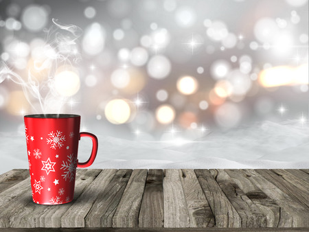 snow drifts: 3D render of a steaming Christmas mug against a snowy bokeh lights background