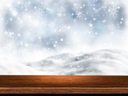 3D render of a wooden table with snowy background Stock Photo